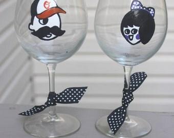 Baltimore fans, Natty Boh and Utz girl pair, baltimore wine glass, maryland wineglass, handpainted wine glass, maryland wedding