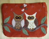 Owl In Love II, Large Pouch