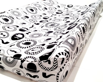 Changing pad cover GENTLEMAN'S for contoured pad, black white change mat cover, baby boy bedding, baby fitted slipcover, changing cover