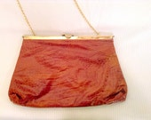 Vintage Italian Leather Clutch or Chain Purse Gold Clasp Free Shipping