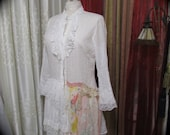 Shabby White Blouse, altered couture boho chic clothing cotton shirt top TatteredDelicates MEDIUM