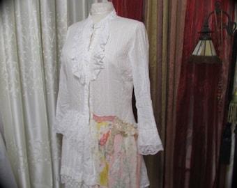 Shabby White Blouse, altered couture boho chic clothing cotton shirt top TatteredDelicates MEDIUM