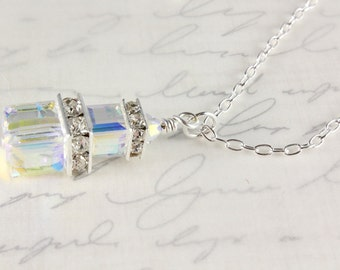 Swarovski Crystal Necklace, Crystal Cubes, Bridal, Crystal AB, Wedding, Sterling Silver, April Birthstone, Custom Colors