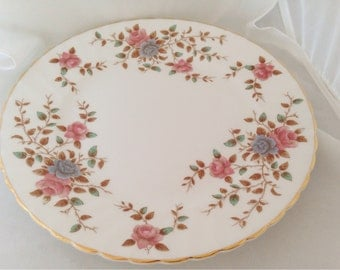 Royal Adderley Heritage Wild Rose Fine Bone China Plate -  dusky muted pinks blues pink blue roses bronze brown - afternoon tea party