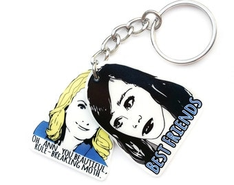Friendship Keychain - Leslie Knope - Girlfriend Gift - Galentine's Day - Best Friends Quotes Keychain - BFF Gift - Leslie and Ann - Keychain