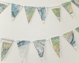 Mountain Map Bunting, eco-friendly banner, upcycled paper bunting, wedding pennants, mountaineer gift