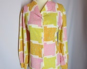 60s Graphic Print Top - Vintage 1960s Button Down Blouse -  Pink Orange Yellow Mod Shirt Sz L