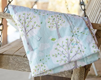 Minky Blanket Michael Miller Backyard Baby Blue White Gray - Name Included - Windy Day
