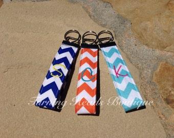 Personalized Key chain /  Monogrammed Chevron Key Fob / Wristlet Fabric Keychain / Teacher gift