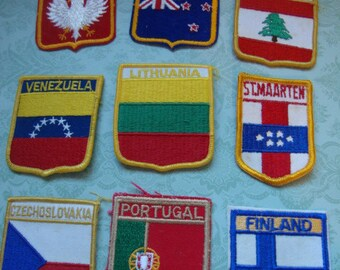Assorted Country Patches Labels Lebanon Czechoslovakia New Zealand Lithuania Flags Travel Souvenir  127