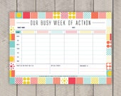 DIY Family Weekly Planner Printable Mid Century Organiser in Colourful Grid Print