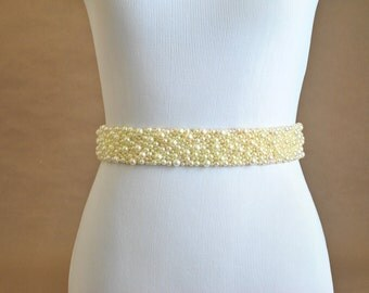 Wedding Sash: Pearl Bridal Belt - Cream, Ivory
