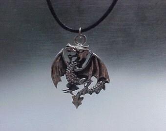 FLYING Dragon Mythological Pendant  in Sterling Silver