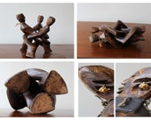 Vintage Hand Carved Wood Tribal Interlocked Trio Unity Sculpture
