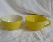 Vintage coffee cups, espresso, yellow , bright, dei-tasse, kitchenalia,  French vintage housewares by ancienesthetique on etsy
