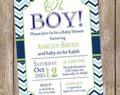 Oh Boy Baby Shower Invitation Navy and Lime Green, Blue Chevron printable invitation