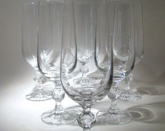 6 Crystal Champagne Flutes with Cut Crystal Ball Stem