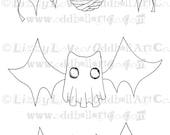 Digi Stamp Digital Instant Download Halloween Creepy Cute Bat Stamp Set No. 84 Mummy (A) Ghost (B) Frankenstein (C) by Lizzy Love