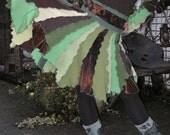 sweater jumper elf dress cardigan wool blouse butterfly patchwork pixie alternative earth green brown ooak