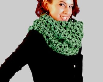 Emerald Green Oversized Infinity Scarf,  Hand Crochet Accessories