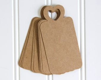 25 Die Cut Rustic Wedding Heart Gift Tags / Favor Tags / Wish Tree Tags (4 x 2 inches) in Brown Kraft Cardstock