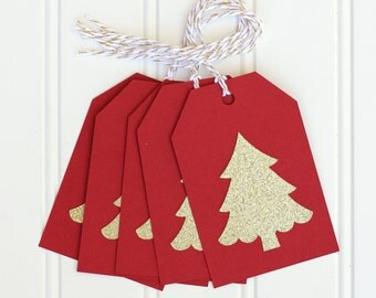 10 Die Cut Gold Glitter Christmas Tree Holiday Gift Tags / Favor Tags (4 x 2.75 inches) in Red Cardstock with Gold & White Baker's Twine