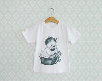 Baby Tshirt, Baby Girl Vintage Tshirt, Sweet Retro Baby print on Girl Tee, Vintage inspiration Toddler Tshirts, Black and White Tees