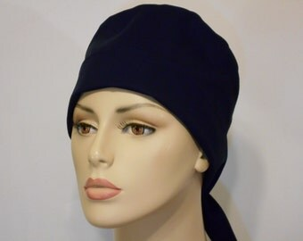 Scrub Hat Medical Style Pixie Tie Back- Solid Navy Blue