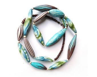 """valentine Long blue necklace, Turquoise Blue Green teal Chocolate, 34"""" Sautoir 84cm, Artisan made polymer clay long necklace, Valentine gift"""