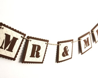 Mr. & Mrs. Wedding Banner - Shabby Chic Look, Aged Look