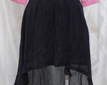 Black Pleat Chiffon Mullet Skirt - Custom Sizing Available - Also Availble in Pink Or Yellow - ORTJ04