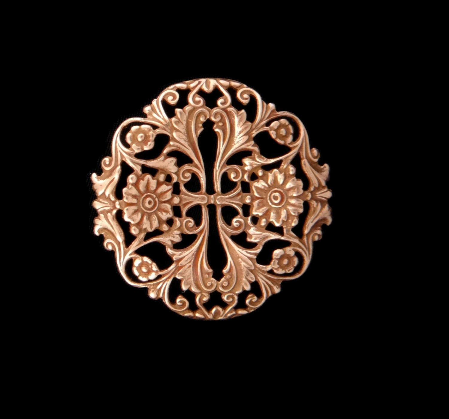Copper Rose Gold Plated Brass Fancy Victorian Style Dapt Garden Stamping One ( 1 ) Perfect for Steampunk Art Made in the USA Brass
