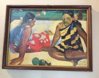 Vintage French Paul Gauguin print of women in Tahiti art circa 1960's / English Shop