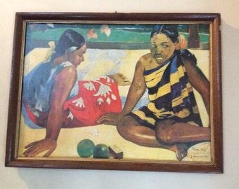 Vintage Français Paul Gauguin d'impression de la femme dans l'art de Tahiti circa 1960 / boutique en anglais