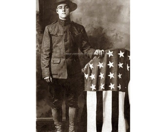 Soldier with Flag Greeting Card - Repro Vintage Photo Postcard