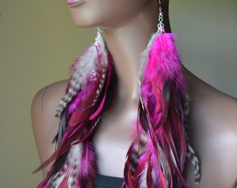 Extra  Long Pink and Grizzly Feather Earrings