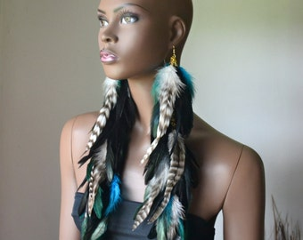 Feather Statement Earrings, Bohemian Jewelry