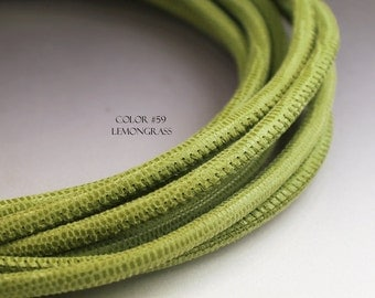 1 m Leather 4 mm round cord 1 meter green leather cord Lizard leather Green 4mm cord Green cord Lizard pattern 4 mm Nappa leather cord