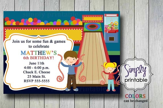 Arcade Birthday Party Invitation Printable File by Simply
