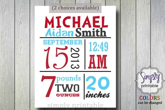 Nursery Wall Print Red Aqua