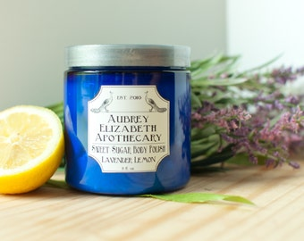Lavender Lemon Body Polish or Island Paradise - whipped soap - pamper - Vegan Sugar Scrub - 8 fl oz Jar - Herbal essential oil