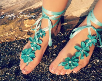 Barefoot Bride Sandals - Turquoise Teal Blue Footless Sandles Anklet for Beach Ocean Wedding or Poolside