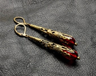 Victorian Steampunk Earrings Ruby Red Earrings Antique Brass Red Dangle Earrings Victorian Romantic Steampunk Jewelry Victorian Curiosities