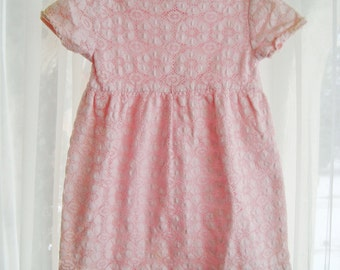 Little Girls Pastel Pink  Lace Dress, Size 5 to 6