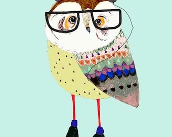 Nursery wall art childrens owl print nursery room decor baby boy decoration digital illustration. 'Skating Owl with Headphones'.