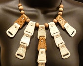 BEGORA Statement Necklace Beige Tan Gold Silver Repurposed Material