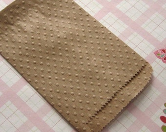 20 Kraft Paper Bags Embossed Polka Dots 3 1/4 x 5 1/4 inches