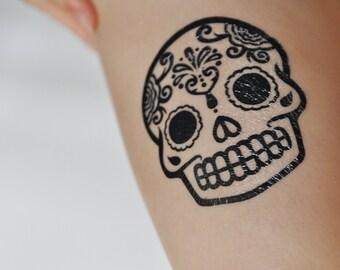 Sugar Skull Temporary Tattoo, Modern Art, Large Temporary Tattoo, Tattoo Temporary, Day Of The Dead, Mexico, Black & White, Minimalist Art