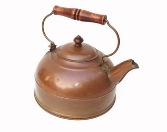 Vintage Copper Kettle | Water Kettle | Rustic Teapot | Metal Tea Pot | Teapot with Wood Handle  – As Is