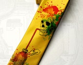 "Mens skull necktie ""Yellow Poison"" - yellow necktie with rainbow spots and skull. Crazy tie for gothic, horror, skuls and skeleton fan."